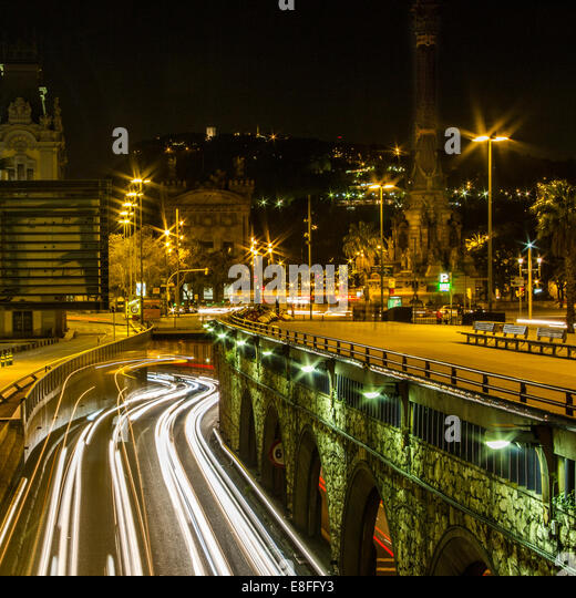 Light trails in the city, Barcelona, Catalonia, Spain - Stock Image