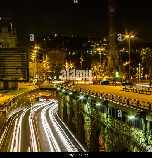 Spain, Catalunya, Barcelona, Urban light trails - Stock-Bilder