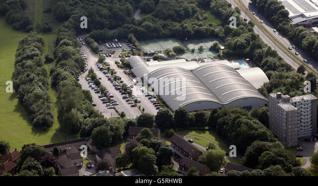 aerial view of the David Lloyd tennis centre on Tongue Lane, Leeds, UK - Stock Image