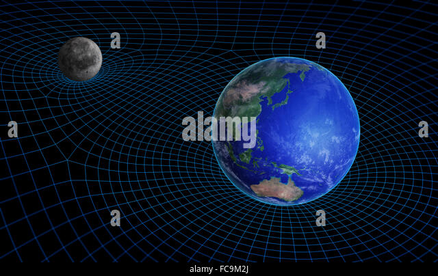 Space time continuum curvature and gravity concept - Stock-Bilder