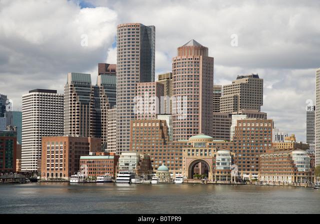 Boston skyline and harbor - Stock Image