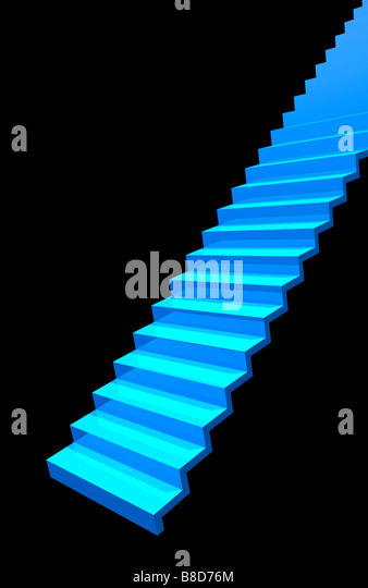Blue stairs against black background. - Stock Image