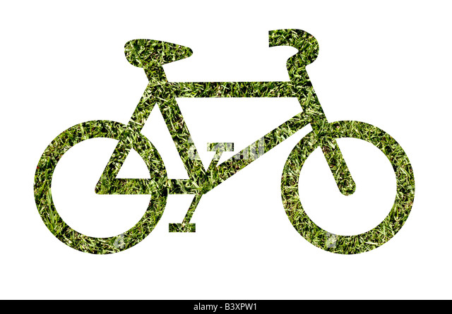 Grass bicycle shape - Stock Image