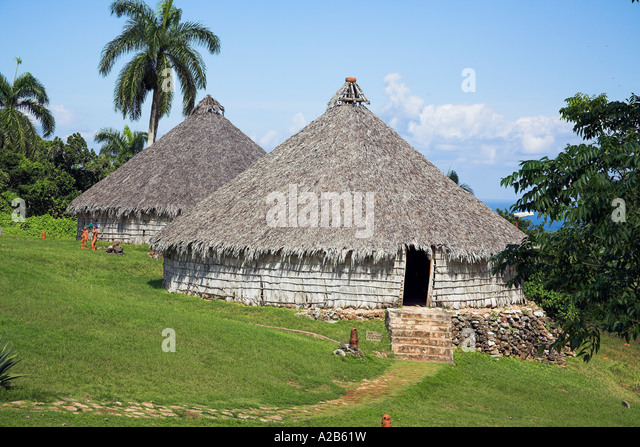 Houses in reproduction Taino Indian village, Chorro de Maita, Banes, near Guardalavaca, Holguin Province, Cuba - Stock Image