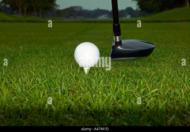 Golf ball and putter - Stock Image