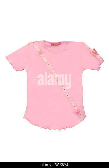 Children's clothing pink T-shirt with flowers pattern isolated on white background - Stock Image