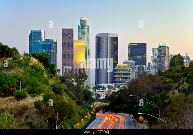 Pasadena Freeway (CA Highway 110) Leading to Downtown Los Angeles, California, United States of America - Stock-Bilder
