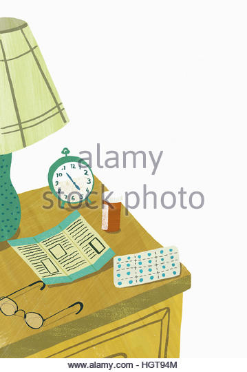 Medicine and instructions on bedside table - Stock-Bilder