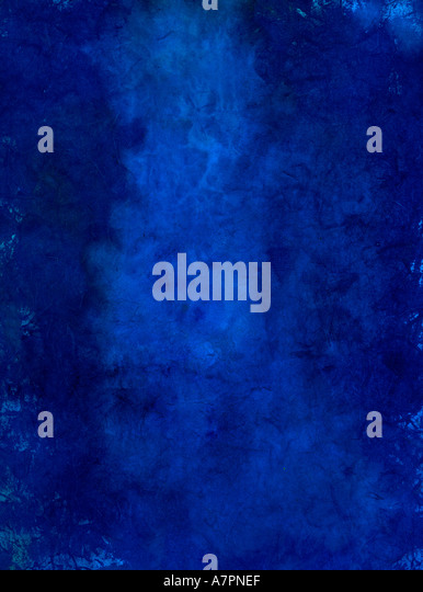 Blue Art Paper Painted with a lighter area in the center field Many textural qualities from inclusions placed in - Stock Image