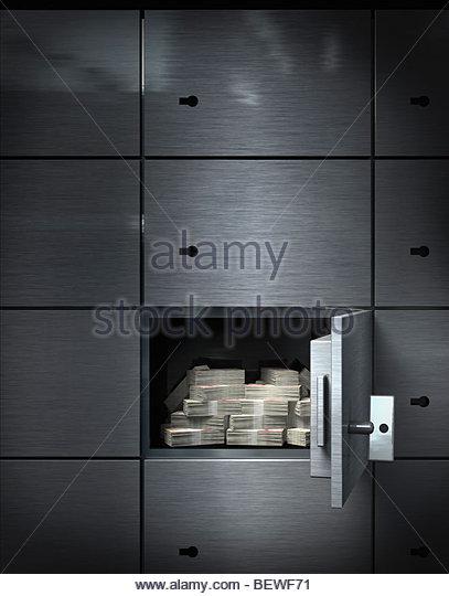 Money in bank vault - Stock Image