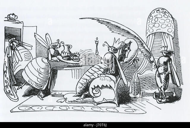 WILHELM BUSCH (1832-1908) German illustrator. From his 1872 book Buzz a Buzz showing the Queen Bee at her court - Stock-Bilder