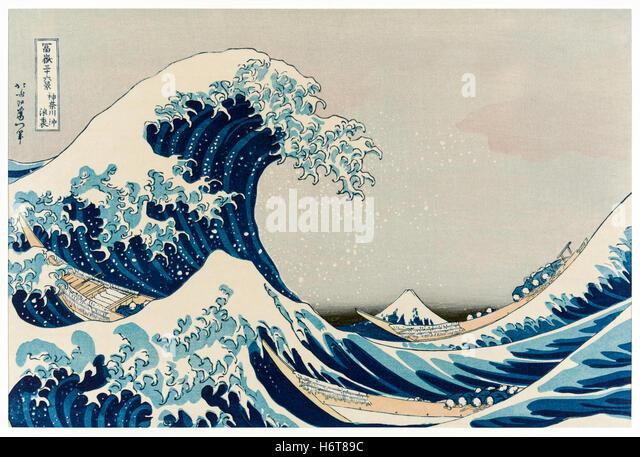 'The Great Wave off Kanagawa' wood block print by Katsushika Hokusai (1760-1849) a Japanese artist in the Edo period, - Stock Image