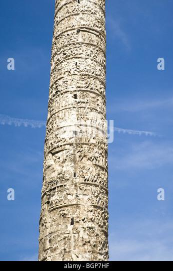 Close-up of column of Marcus Aurelius, Rome, Italy - Stock Image