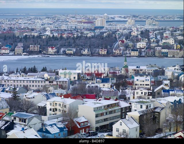Snow covered Reykjavik, Iceland - Stock Image