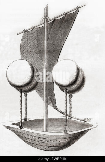 Francesco Lana de Terzi's flying boat concept c.1670. Francesco Lana de Terzi,  1631 – 1687.   Italian Jesuit, - Stock Image