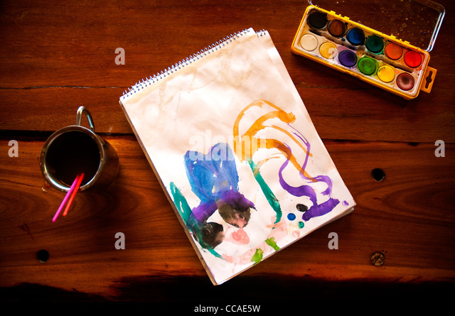 Children watercolor painting - Stock-Bilder