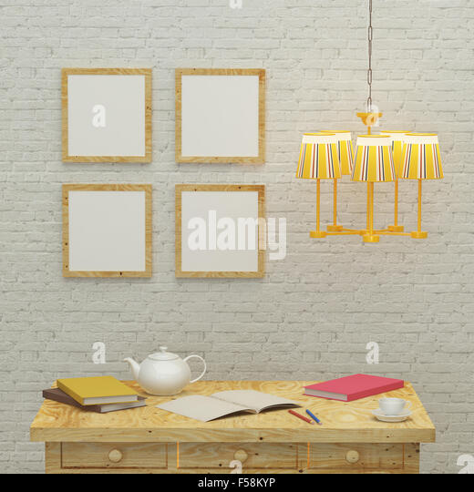 working kids room interior design 3d rendering - Stock Image