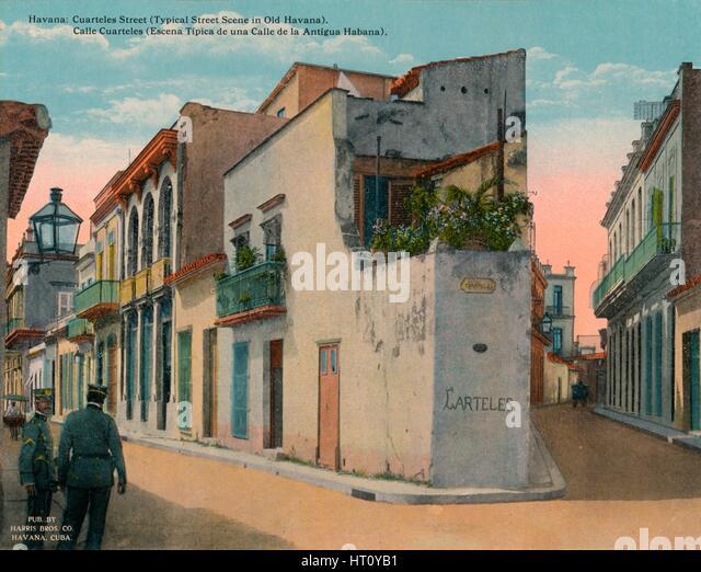 Calle Cuarteles, typical street scene in Old Havana, Cuba, c1920. Artist: Unknown. - Stock Image