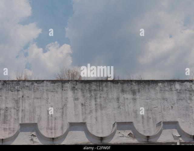 Very close up detail of top of building in the Spanish colonial city of Antigua, Guatemala. - Stock Image