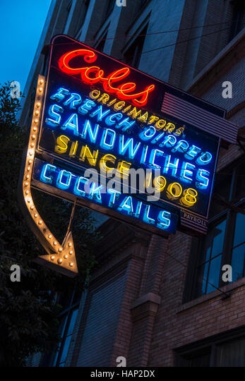 Neon sign in Downtown Los Angeles advertising 'Coles French-dipped sandwiches since 1908' - Stock Image
