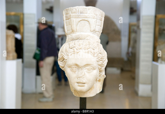Marble head  of the goddess Tyche in The Jordan Museum of Archaeology, Amman, Jordan - Stock Image