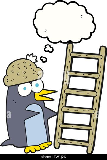 freehand drawn thought bubble cartoon penguin with ladder - Stock-Bilder
