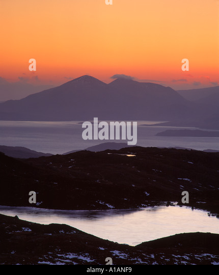 View from the Bealach na Ba to the Red Cuillin on the Isle of Skye, near Applecross, Ross and Cromarty, Highland, - Stock-Bilder