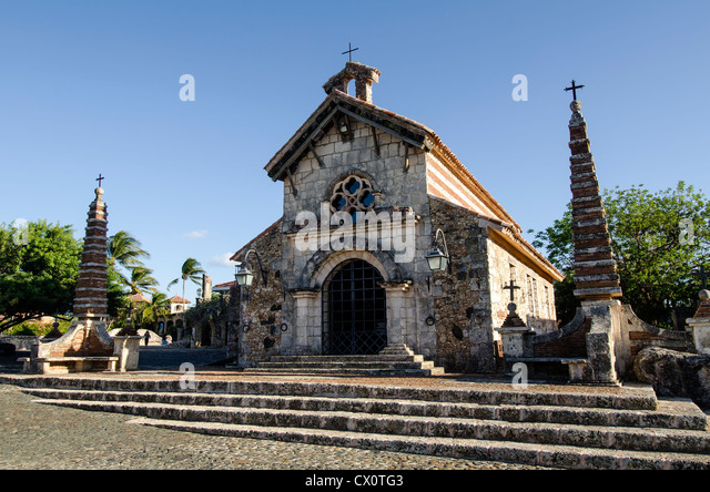 Altos de Chavon St Stanislaus Church tourist attraction at Casa de Campo, La Romana, Dominican Republic - Stock Image