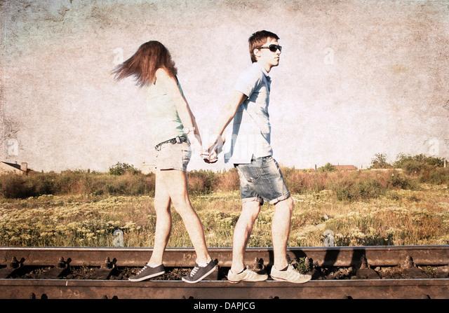 artwork in retro style, couple - Stock Image