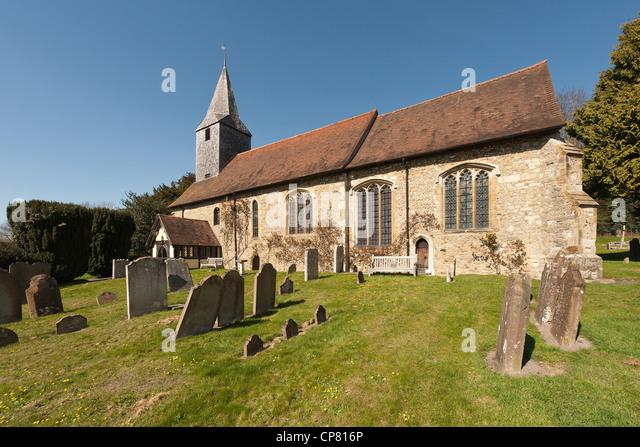 Village churchyard St Mary's Church parish Kemsing - Stock Image