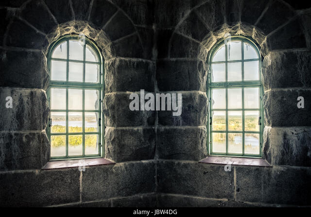 Old castle inside, with nature window view - Stock Image