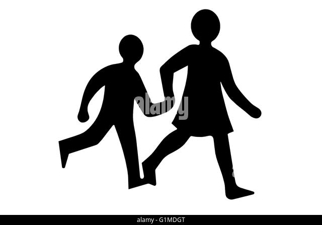 children crossing clip art for signs - Stock Image
