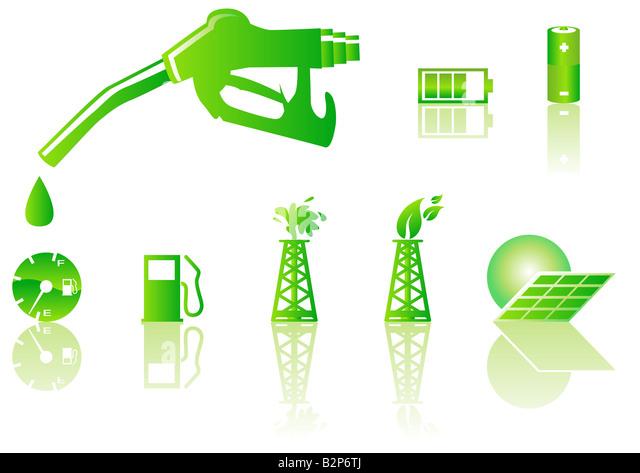 Abstract vector illustration of green energy symbols - Stock-Bilder
