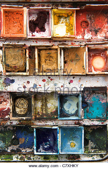 A used watercolor paint box - Stock-Bilder