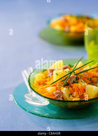 Carrot,tuna and raisin salad - Stock Image