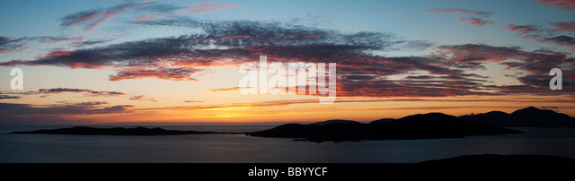 Sunset over Taransay Island, Isle of Harris, Outer Hebrides, Scotland - Stock Image