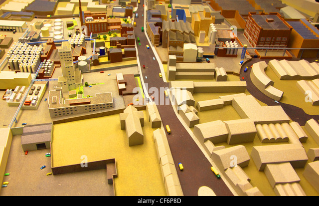 architectural breadboard model of the industrial district with models of cars - Stock-Bilder