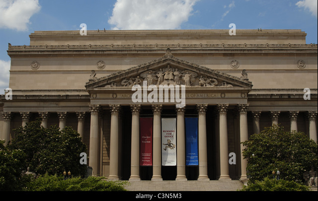 National Archives Building. Exterior. Washington D.C. United States. - Stock Image