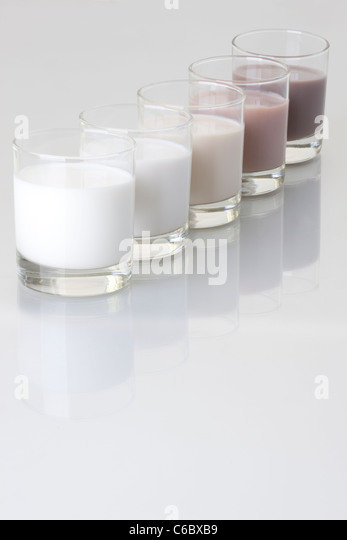 Different kinds of milk - Stock Image