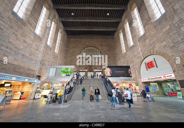 Entrance hall, Central Railway Station, Stuttgart, Baden-Wuerttemberg, Germany, Europe - Stock Image