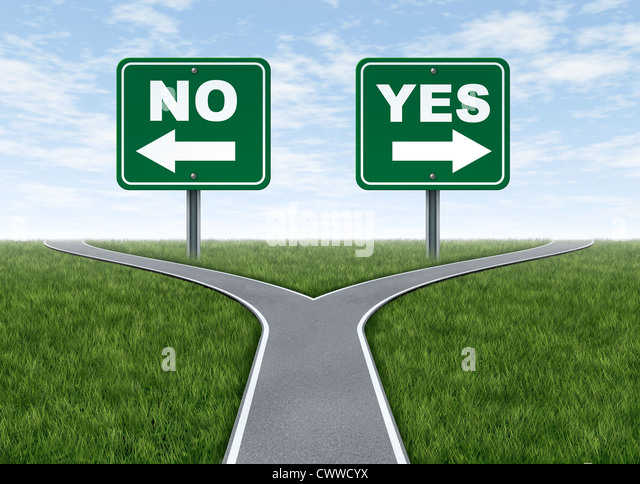 Yes or no decision symbol represented by a forked road with a road sign saying yes and another saying no with arrows - Stock Image