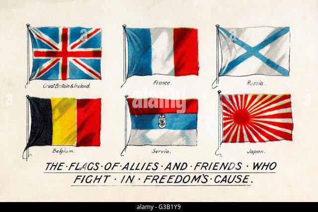 Flags of the Allies         Date: circa 1915 - Stock-Bilder