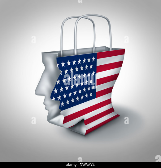 American consumer concept as a shopping bag shaped as a human head with a United States flag as an economic symbol - Stock Image