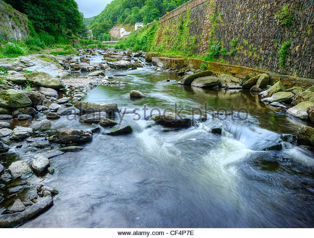 The Glen Lyn Gorge, created by the meeting of the East and West Lyn rivers at Lynmouth creating a beautiful stream - Stock Image