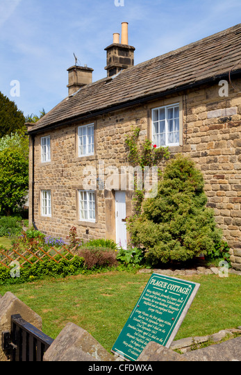 An old Plague cottage in the village of Eyam that suffered the,death, Derbyshire, Peak District National Park, England, - Stock Image