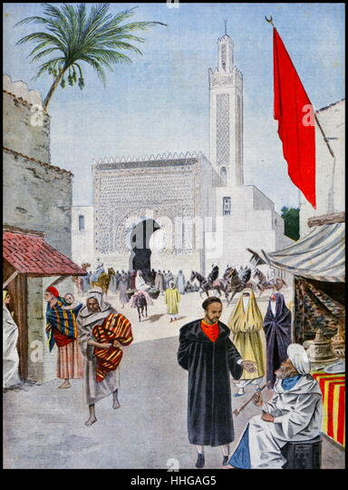 Illustration showing the Moroccan Pavilion, at the Exposition Universelle of 1900. - Stock Image