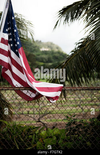 American flag and fence - Stock-Bilder