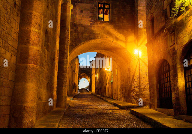 Street of Knights in Rhodes town, Rhodes Island, Greece, UNESCO - Stock-Bilder