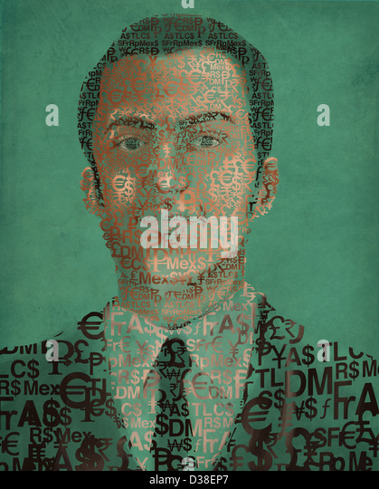 Illustration image of businessman made of currency symbols - Stock Image