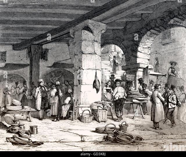 market place in Lucerne, a city in central Switzerland, Europe, 19th century - Stock-Bilder